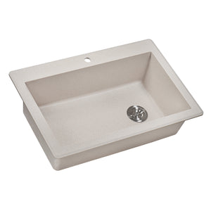"Ruvati 33"" x 22"" Granite Composite Dual Mount Single Bowl Kitchen Sink Caribbean Sand RVG1033CS"