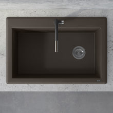 "Load image into Gallery viewer, Ruvati 33"" x 22"" Granite Composite Dual Mount Single Bowl Kitchen Sink Espresso/Coffee RVG1033ES"