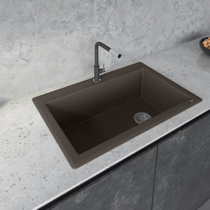 "Ruvati 33"" x 22"" Granite Composite Dual Mount Single Bowl Kitchen Sink Espresso/Coffee RVG1033ES"