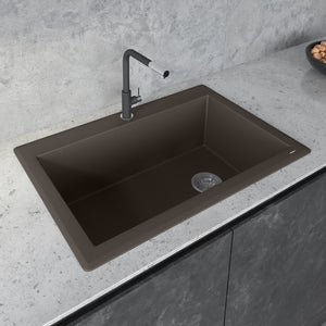 "Ruvati 33"" x 22"" Granite Composite Drop-in Topmount Single Bowl Kitchen Sink - RVG1033"