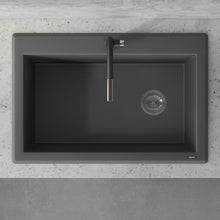 "Load image into Gallery viewer, Ruvati 33"" x 22"" Granite Composite Dual Mount Single Bowl Kitchen Sink Urban Gray RVG1033GR"
