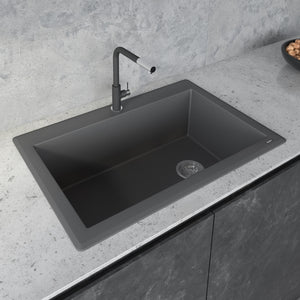 "Ruvati 33"" x 22"" Granite Composite Dual Mount Single Bowl Kitchen Sink Urban Gray RVG1033GR"