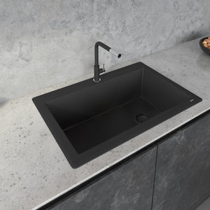 "Ruvati 33"" x 22"" Granite Composite Dual Mount Single Bowl Kitchen Sink Black Galaxy RVG1033GX"