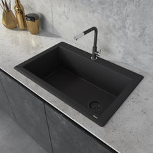 "Load image into Gallery viewer, Ruvati 33"" x 22"" Granite Composite Dual Mount Single Bowl Kitchen Sink Black Galaxy RVG1033GX"