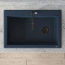 "Load image into Gallery viewer, Ruvati 33"" x 22"" Granite Composite Dual Mount Single Bowl Kitchen Sink Catalina Blue RVG1033LU"