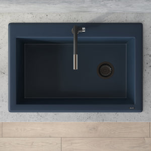 "Ruvati 33"" x 22"" Granite Composite Dual Mount Single Bowl Kitchen Sink Catalina Blue RVG1033LU"