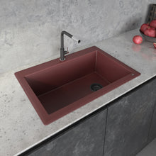 "Load image into Gallery viewer, Ruvati 33"" x 22"" Granite Composite Dual Mount Single Bowl Kitchen Sink Carnelian Red RVG1033RD"