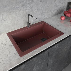 "Ruvati 33"" x 22"" Granite Composite Dual Mount Single Bowl Kitchen Sink Carnelian Red RVG1033RD"