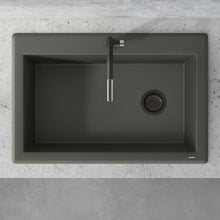 "Load image into Gallery viewer, Ruvati 33"" x 22"" Granite Composite Dual Mount Single Bowl Kitchen Sink Juniper Green RVG1033RN"