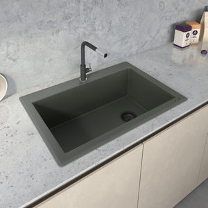 "Ruvati 33"" x 22"" Granite Composite Dual Mount Single Bowl Kitchen Sink Juniper Green RVG1033RN"