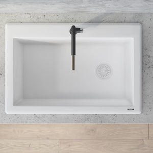 "Ruvati 33"" x 22"" Granite Composite Dual Mount Single Bowl Kitchen Sink Arctic White RVG1033WH"