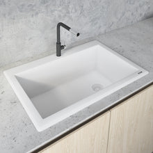 "Load image into Gallery viewer, Ruvati 33"" x 22"" Granite Composite Dual Mount Single Bowl Kitchen Sink Arctic White RVG1033WH"