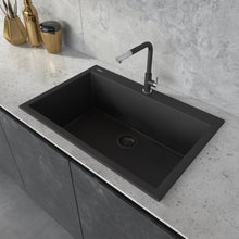 "Load image into Gallery viewer, Ruvati 33"" x 22"" Granite Composite Dual Mount Kitchen Sink Single Bowl Midnight Black RVG1080BK"