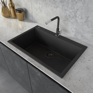 "Ruvati 33"" x 22"" Granite Composite Dual Mount Kitchen Sink Single Bowl Midnight Black RVG1080BK"