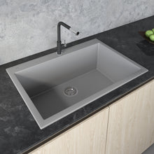 "Load image into Gallery viewer, Ruvati 33"" x 22"" Granite Composite Dual Mount Kitchen Sink Single Bowl Silver Gray RVG1080GR"