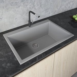 "Ruvati 33"" x 22"" Granite Composite Dual Mount Kitchen Sink Single Bowl Silver Gray RVG1080GR"