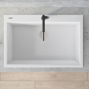 "Ruvati 33"" x 22"" Granite Composite Dual Mount Kitchen Sink Single Bowl Arctic White RVG1080WH"