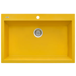 "Ruvati 33"" x 22"" Granite Composite Dual Mount Kitchen Sink Single Bowl Midas Yellow RVG1080YL"