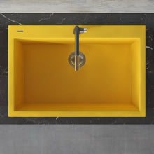 "Load image into Gallery viewer, Ruvati 33"" x 22"" Granite Composite Dual Mount Kitchen Sink Single Bowl Midas Yellow RVG1080YL"