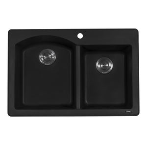 "Ruvati 33"" x 22"" Dual Mount Granite Composite Double Bowl Kitchen Sink Midnight Black RVG1344BK"