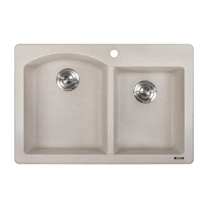 "Ruvati 33"" x 22"" Dual Mount Granite Composite Double Bowl Kitchen Sink Caribbean Sand RVG1344CS"