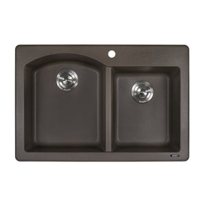 "Ruvati 33"" x 22"" Dual Mount Granite Composite Double Bowl Kitchen Sink Espresso/Coffee RVG1344ES"