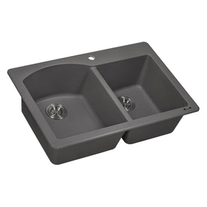 "Ruvati 33"" x 22"" Dual Mount Granite Composite Double Bowl Kitchen Sink Urban Gray RVG1344GR"
