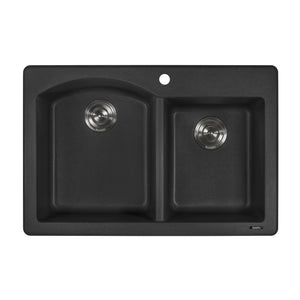 "Ruvati 33"" x 22"" Dual Mount Granite Composite Double Bowl Kitchen Sink Black Galaxy RVG1344GX"