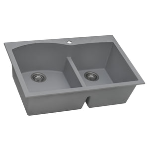 "Ruvati 33"" x 22"" epiGranite Drop-in Topmount Granite Composite Double Bowl Kitchen Sink Silver Gray RVG1345GR"