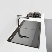 "Load image into Gallery viewer, Ruvati 34"" epiGranite Topmount Workstation Ledge Granite Composite Kitchen Sink - Midnight Black, Silver Gray or Arctic White - RVG1350"