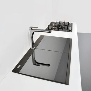 "Ruvati 34"" epiGranite Topmount Workstation Ledge Granite Composite Kitchen Sink - Midnight Black, Silver Gray or Arctic White - RVG1350"