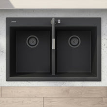 "Load image into Gallery viewer, Ruvati 33"" x 22"" epiGranite Drop-in TopMount Granite Composite Double Bowl Low Divide Kitchen Sink - Midnight Black, Silver Gray or Arctic White - RVG1385"