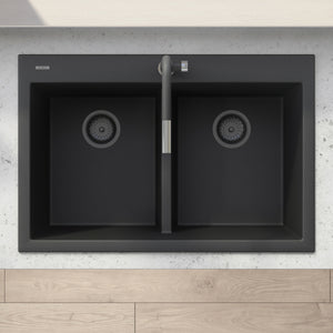 "Ruvati 33"" x 22"" epiGranite Drop-in TopMount Granite Composite Double Bowl Low Divide Kitchen Sink - Midnight Black, Silver Gray or Arctic White - RVG1385"