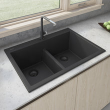 "Load image into Gallery viewer, Ruvati 33"" x 22"" epiGranite Drop-in TopMount Granite Composite Double Bowl Low Divide Kitchen Sink Midnight Black RVG1385BK"
