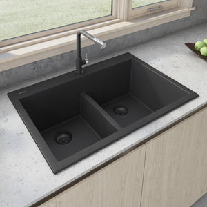 "Ruvati 33"" x 22"" epiGranite Drop-in TopMount Granite Composite Double Bowl Low Divide Kitchen Sink Midnight Black RVG1385BK"