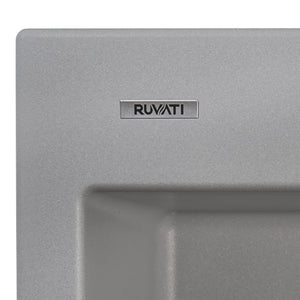 "Ruvati 33"" x 22"" epiGranite Drop-in TopMount Granite Composite Double Bowl Low Divide Kitchen Sink Silver Gray RVG1385GR"