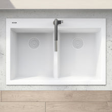 "Load image into Gallery viewer, Ruvati 33"" x 22"" epiGranite Drop-in TopMount Granite Composite Double Bowl Low Divide Kitchen Sink Arctic White RVG1385WH"