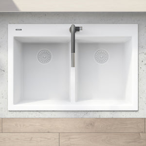 "Ruvati 33"" x 22"" epiGranite Drop-in TopMount Granite Composite Double Bowl Low Divide Kitchen Sink Arctic White RVG1385WH"