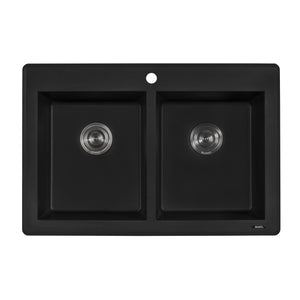 "Ruvati 33"" x 22"" Drop-in Topmount Granite Composite Double Bowl Kitchen Sink - Midnight Black, Espresso, Urban Gray or Arctic White - RVG1388"