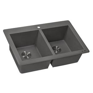"Ruvati 33"" x 22"" Dual Mount Granite Composite Double Bowl Kitchen Sink Urban Gray RVG1388GR"