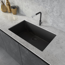 "Load image into Gallery viewer, Ruvati 30"" x 18"" Granite Composite Undermount Single Bowl Kitchen Sink - Midnight Black, Silver Gray, or Arctic White"