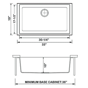 "Ruvati 33"" x 19"" Granite Composite Undermount Single Bowl Kitchen Sink - Arctic White RVG2080WH"