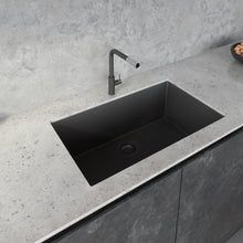 "Load image into Gallery viewer, Ruvati 33"" x 19"" Granite Composite Undermount Single Bowl Kitchen Sink - Midnight Black RVG2080BK"