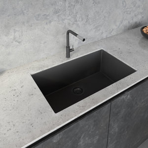 "Ruvati 33"" x 19"" Granite Composite Undermount Single Bowl Kitchen Sink - Midnight Black RVG2080BK"