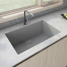 "Load image into Gallery viewer, Ruvati 33"" x 19"" Granite Composite Undermount Single Bowl Kitchen Sink - Silver Gray RVG2080GR"