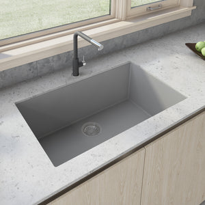 "Ruvati 33"" x 19"" Granite Composite Undermount Single Bowl Kitchen Sink - Silver Gray RVG2080GR"
