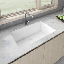 "Load image into Gallery viewer, Ruvati 33"" x 19"" Granite Composite Undermount Single Bowl Kitchen Sink - Arctic White RVG2080WH"