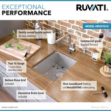 "Load image into Gallery viewer, Ruvati 10"" Undermount Bar Prep Tight Radius 16 Gauge Kitchen Sink Stainless Steel Single Bowl - RVH7010"