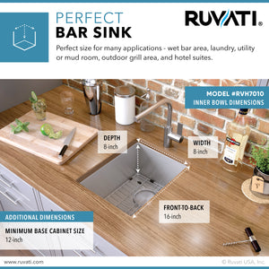 "Ruvati 10"" Undermount Bar Prep Tight Radius 16 Gauge Kitchen Sink Stainless Steel Single Bowl - RVH7010"