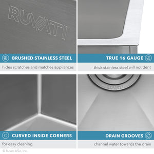 "Ruvati 13"" x 15"" Undermount Bar Prep Tight Radius 16 Gauge Kitchen Sink Stainless Steel Single Bowl - RVH7013"